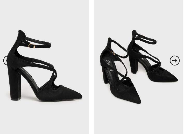 Answear - Pantofi cu toc gros inalt eleganti negri din piele eco intoarsa