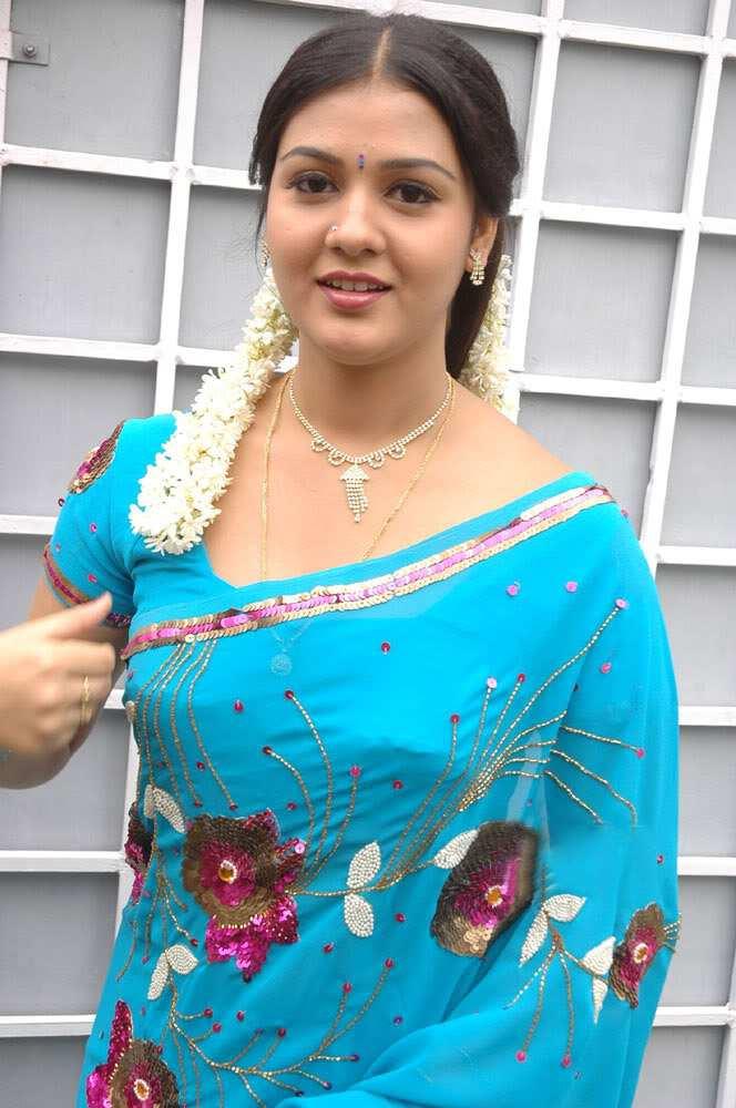 Tamil Actress Jyothi Krishn Latest Blue Saree Images -7871