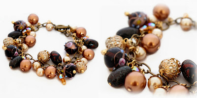 A bronze & gold toned charm bracelet featuring some of my polymer clay beads - handmade by Lottie Of London