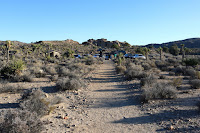 View south from Pine City Trail toward the Pine City Backcountry Board parking area, Joshua Tree National Park