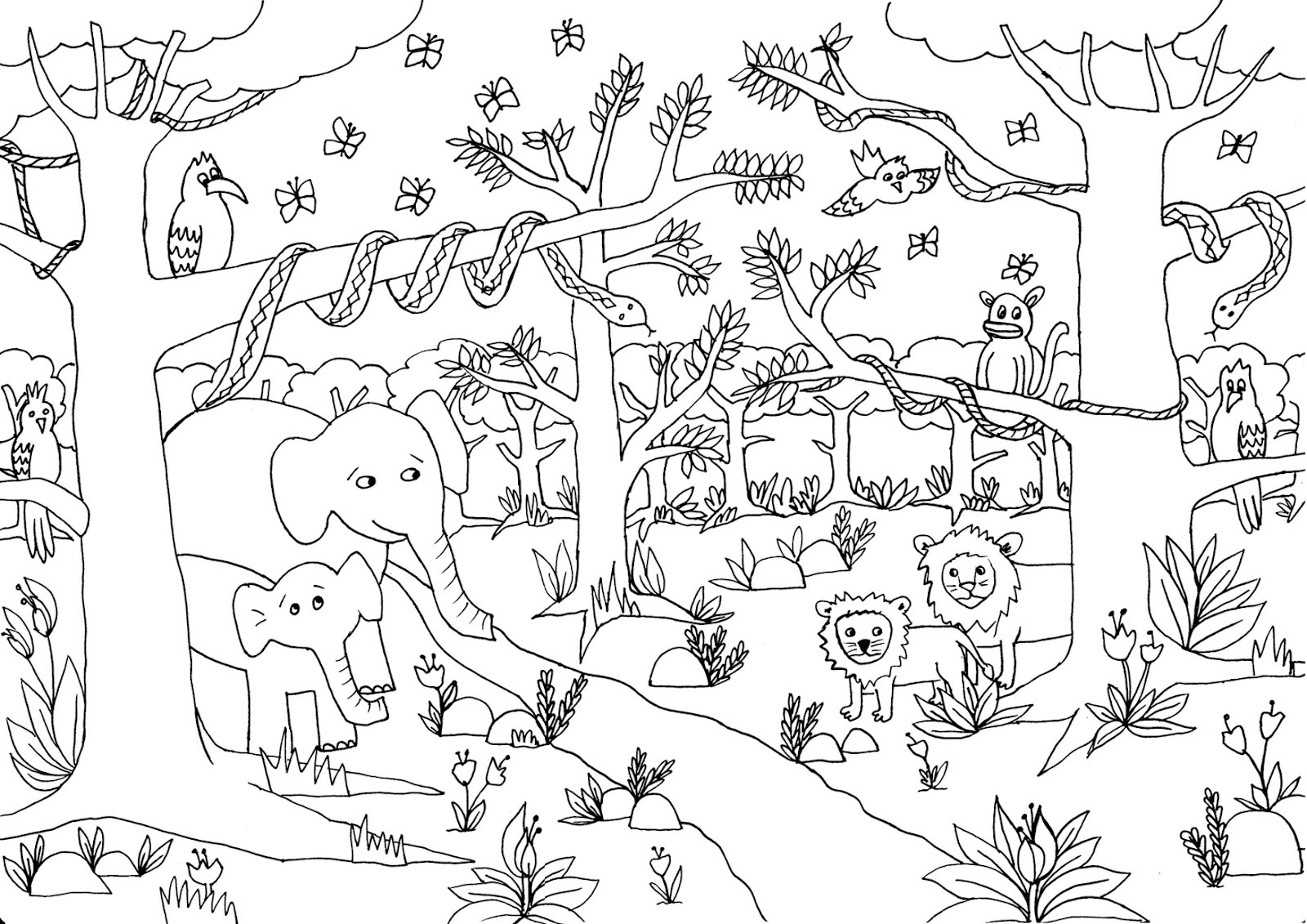 Safari and Jungle Animals Coloring Pages for Kids - Itsy Bitsy Fun | 1131x1600