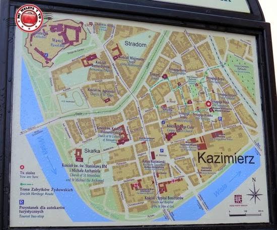 Mapa del barrio judío de Kazimierz, Cracovia