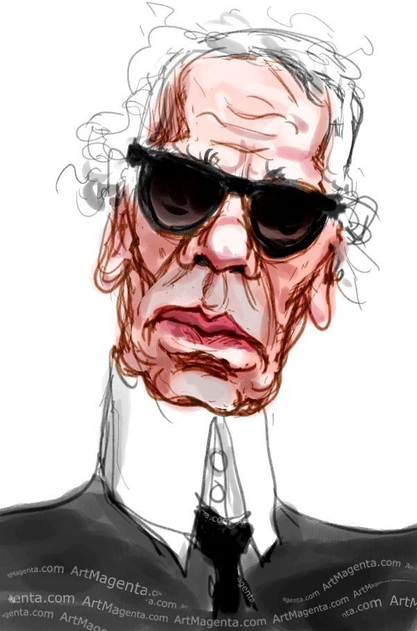Karl Lagerfeld caricature cartoon. Portrait drawing by caricaturist Artmagenta