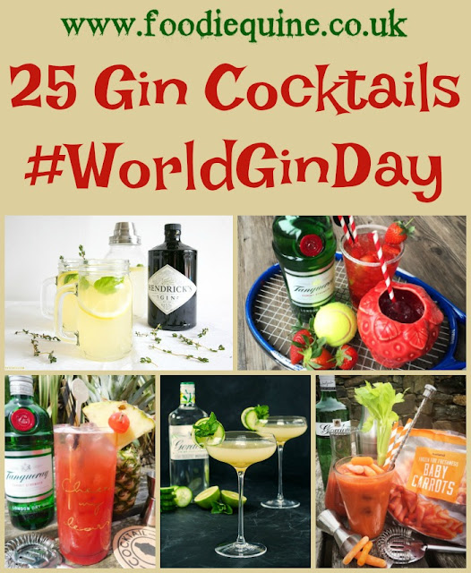 www.foodiequine.co.uk 25 Gin Cocktails for World Gin Day - G&T, Gin Sling, Mulled Gin, Gin Slushie, Tom Collins, Bramble.