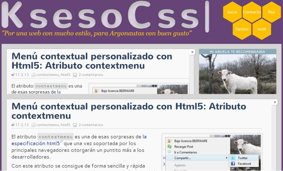 El blog con el sidebar plegado (toggle) o no