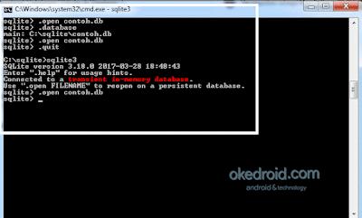 Membuat dan Membuka kembali file SQLite