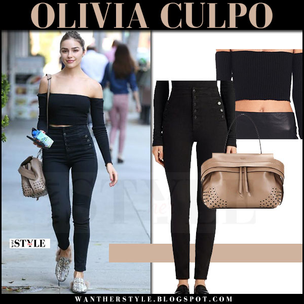 Olivia Culpo in black off shoulder top and black jeans j brand natasha what she wore may 23 2017 streetstyle