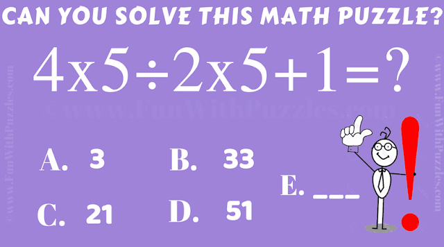 Can you solve this 4x5÷2x5+1=?