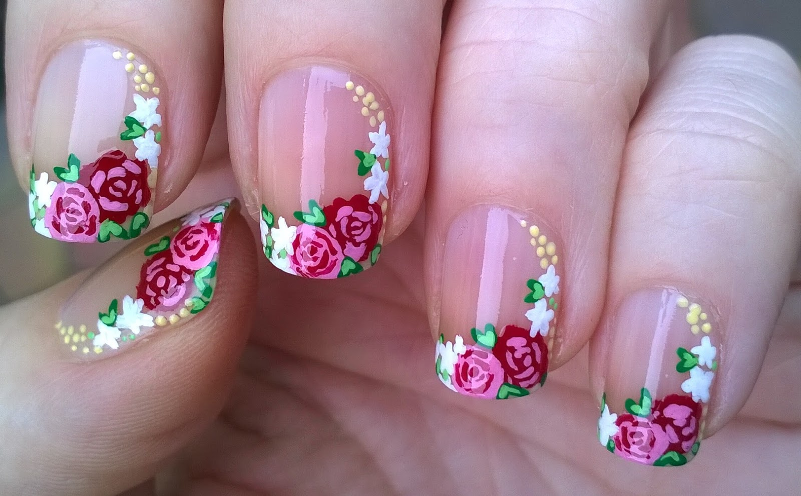 Life World Women: Floral Side French Tip Nails Using Acrylic Paint