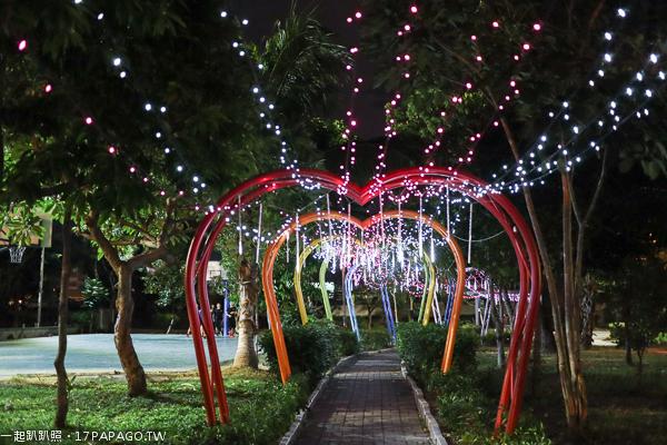 台中大里|十九甲健康公園|浪漫雙心造景|七彩愛心隧道|美麗夜景