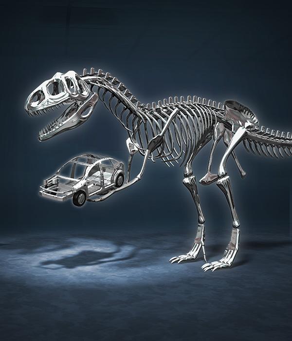 リアルイラスト、3DCG、恐竜、鉄骨、鉄製品、恐竜骨格