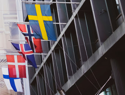 All of the Nordic flags with the cross representing Christianity