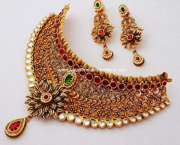 Intricate Antique Necklace From Kalyan Latest Indian