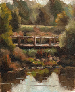 Oil painting of a bridge across a shallow pond surrounded by trees and shrubs.
