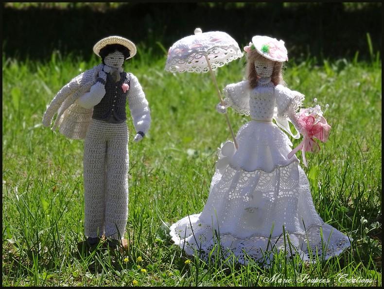 Poupées mariage champêtre