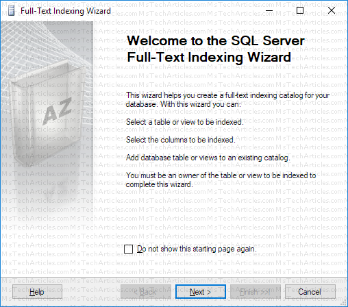 Full Text Indexing Wizard Welcome Screen