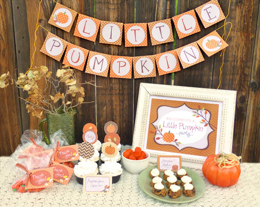 Yay i made it little pumpkin party free printable for Autumn party decoration ideas