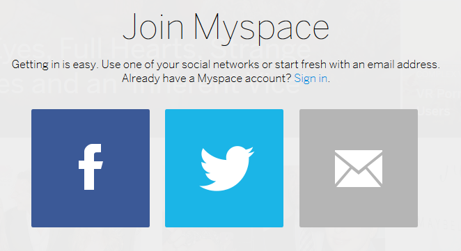 Facebook Twitter advertisement when making Myspace account
