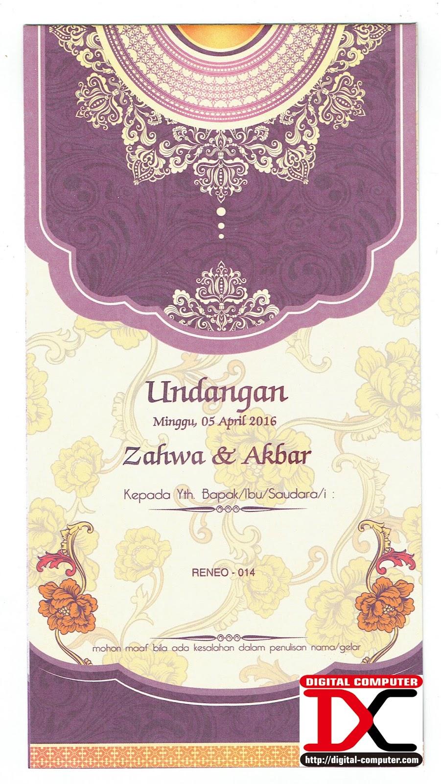 undangan pernikahan harga 2700