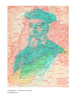 Map Nostradamus describing  the destruction of Pakistan