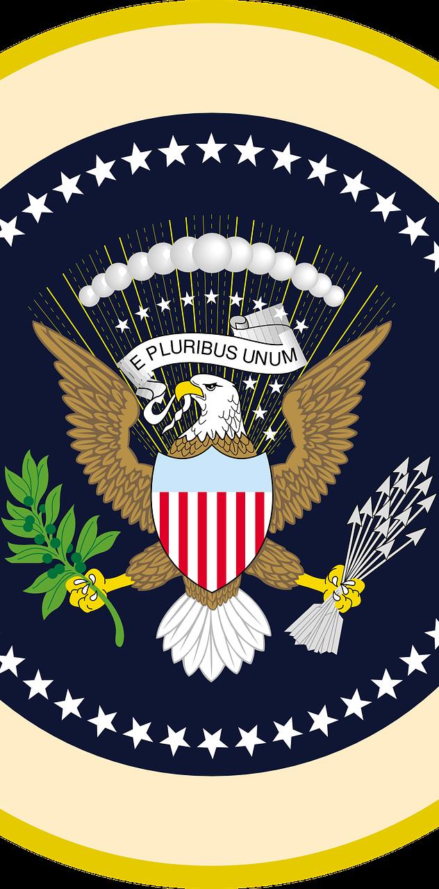 Bald eagle in American national emblem.