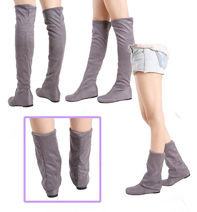 Model sepatu flat knee boots untuk wanita berkaki besar