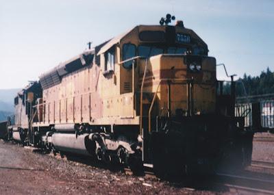 Southern Pacific SD45R #7556 in Oakridge, Oregon, in 1996