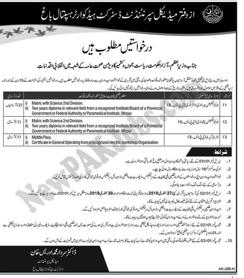 New Jobs in Azad Jamu Kashir for Superintendent District Headquarter Hospital Baagh