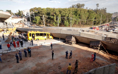 O viaduto que caiu em Belo Horizonte em 2014