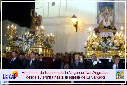 El último sábado de septiembre podrá presenciar la tradicional procesión de traslado de la Virgen de las Angustias desde su ermita hasta la Iglesia Parroquial de El Salvador