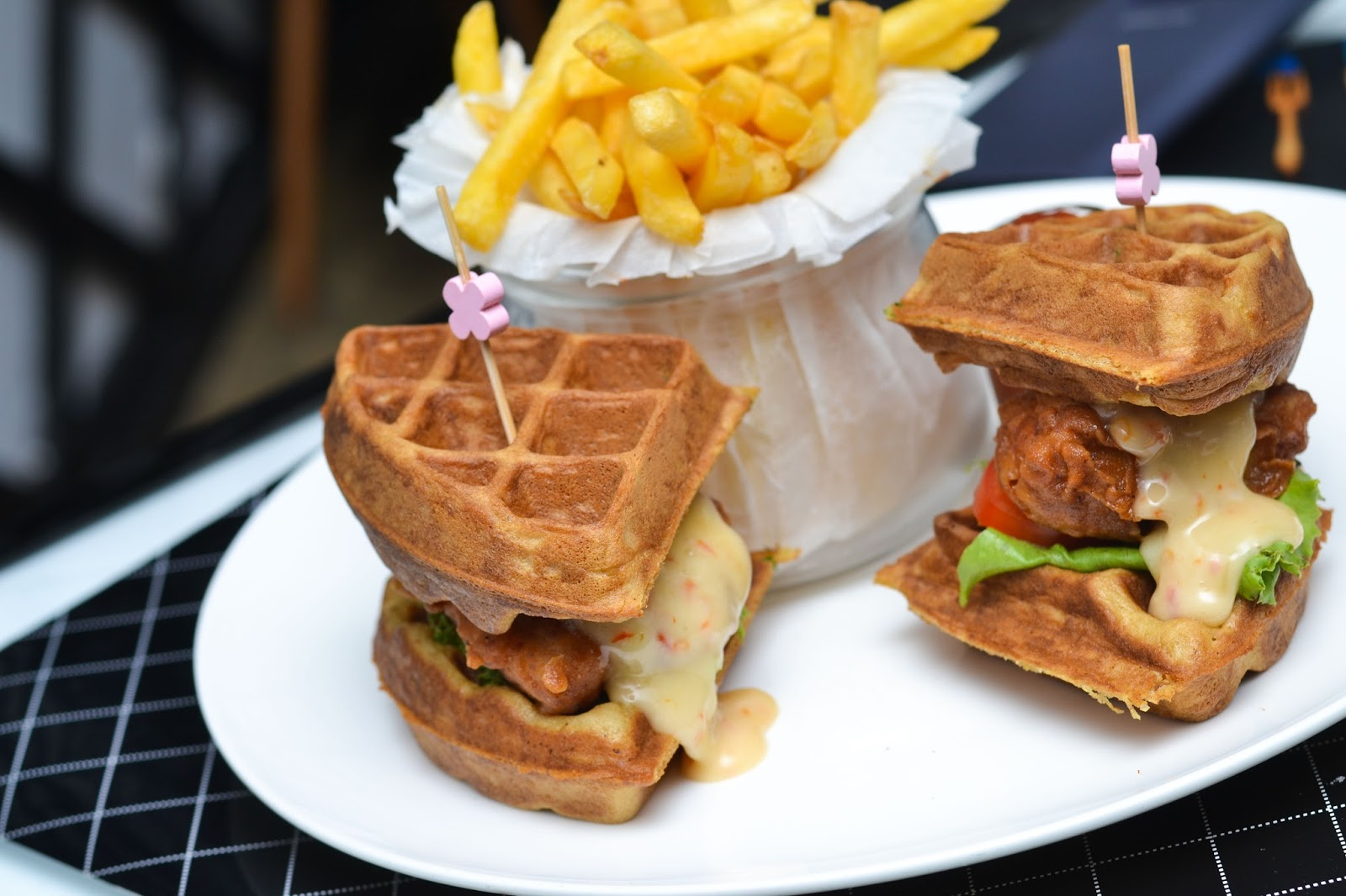 Chicken in Waffle with Chips