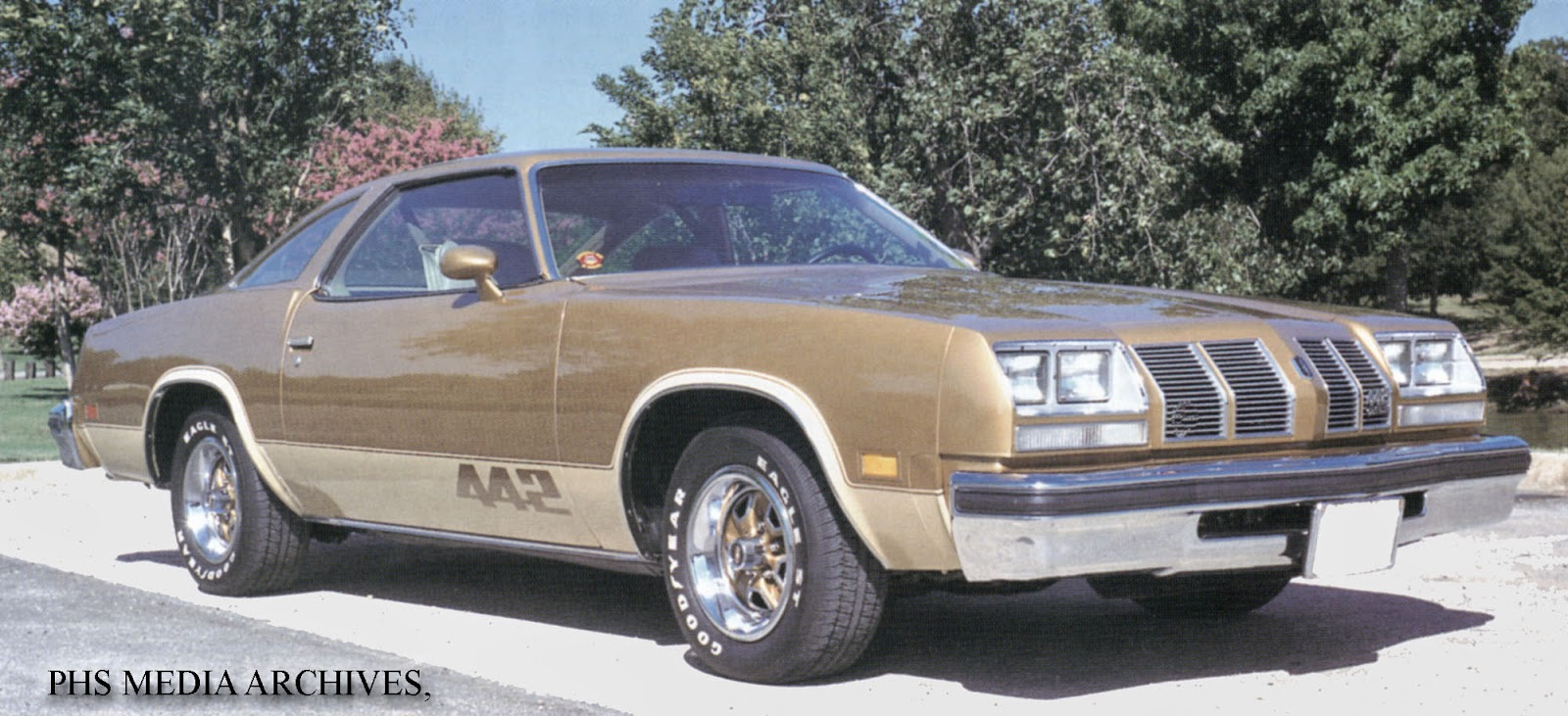A fully dressed 1977 442; these were based on the Cutlass Salon body with a  special grille.