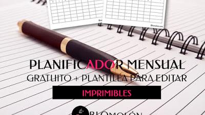 Planificador Mensual Gratuito + Plantilla Para Editar