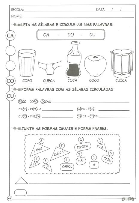 Atividades Educativas Para Alfabetização Para Imprimir E Colorir
