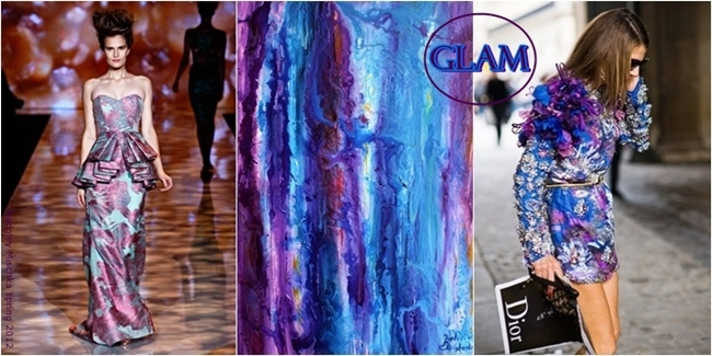 Purple turquoise designer dresses