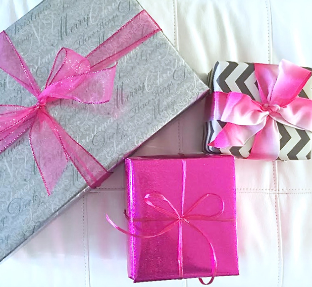 3 Wrapped Holiday Gifts in pink and silver