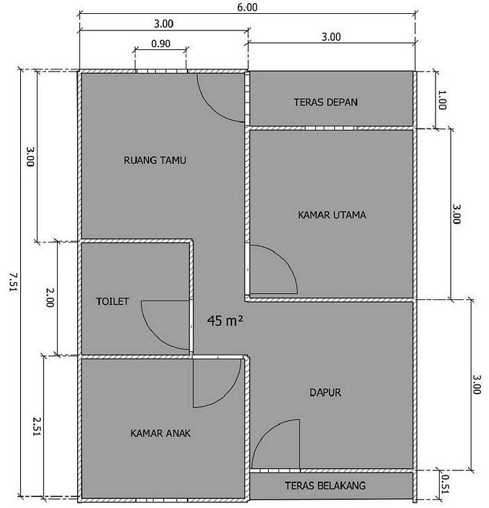 denah rumah 6x8 meter 2 lantai yg terkini