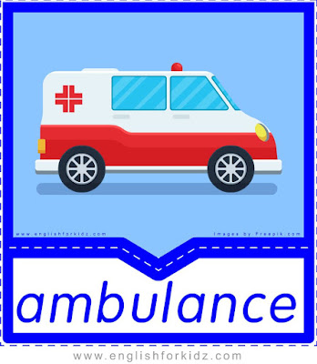 ambulance, free printable transportation flashcards
