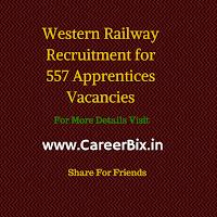 Western Railway Recruitment for 557 Apprentices Vacancies