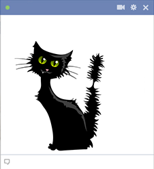 Black cat - Halloween sticker for Facebook
