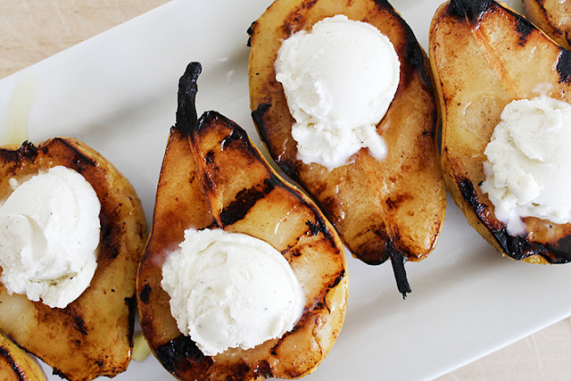 Grilled Honey Pear Ice Cream Boats