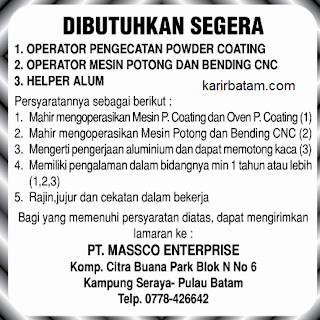 Lowongan Kerja PT. Massco Enterprise