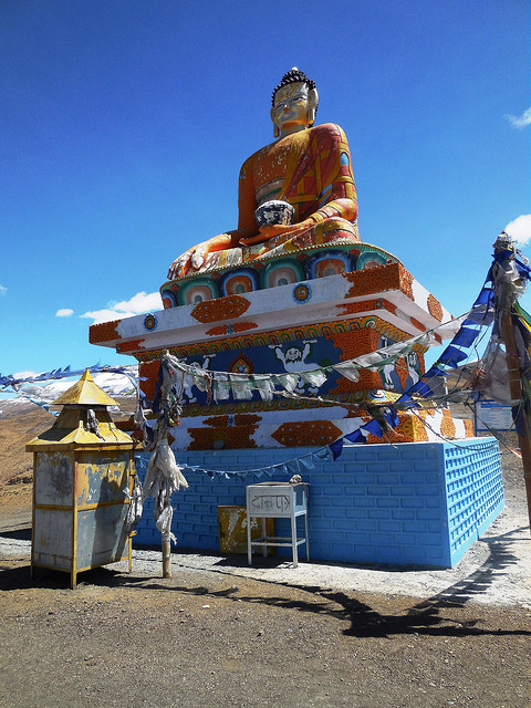 Giant Buddha statue in Langcha village
