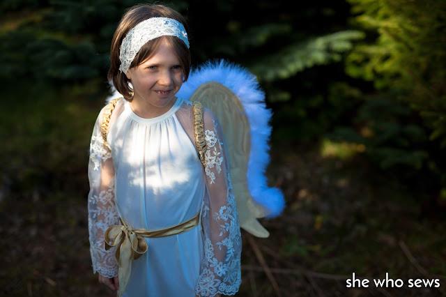 Girl wearing headband in costume