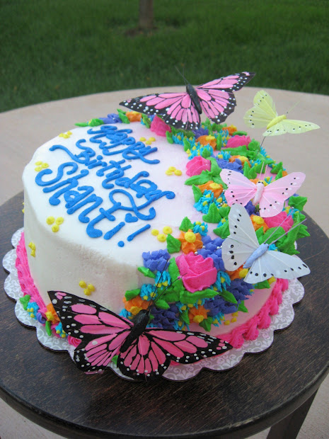 Butterfly With Flowers And Cake