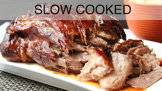 Image of a bbq pork roast, a recipe index link to Slow Cooked page.