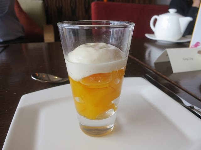 pineapple and mango jelly and coconut emulsion