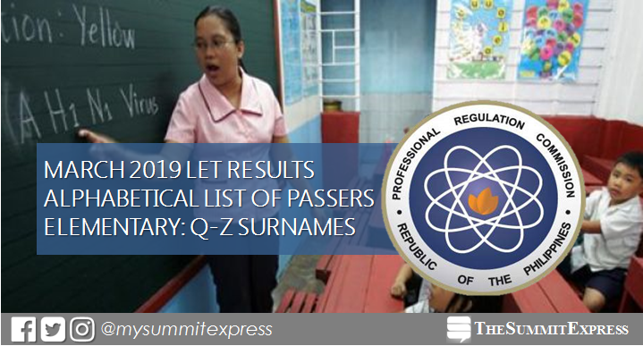 Q-Z Passers List: March 2019 LET Results Elementary