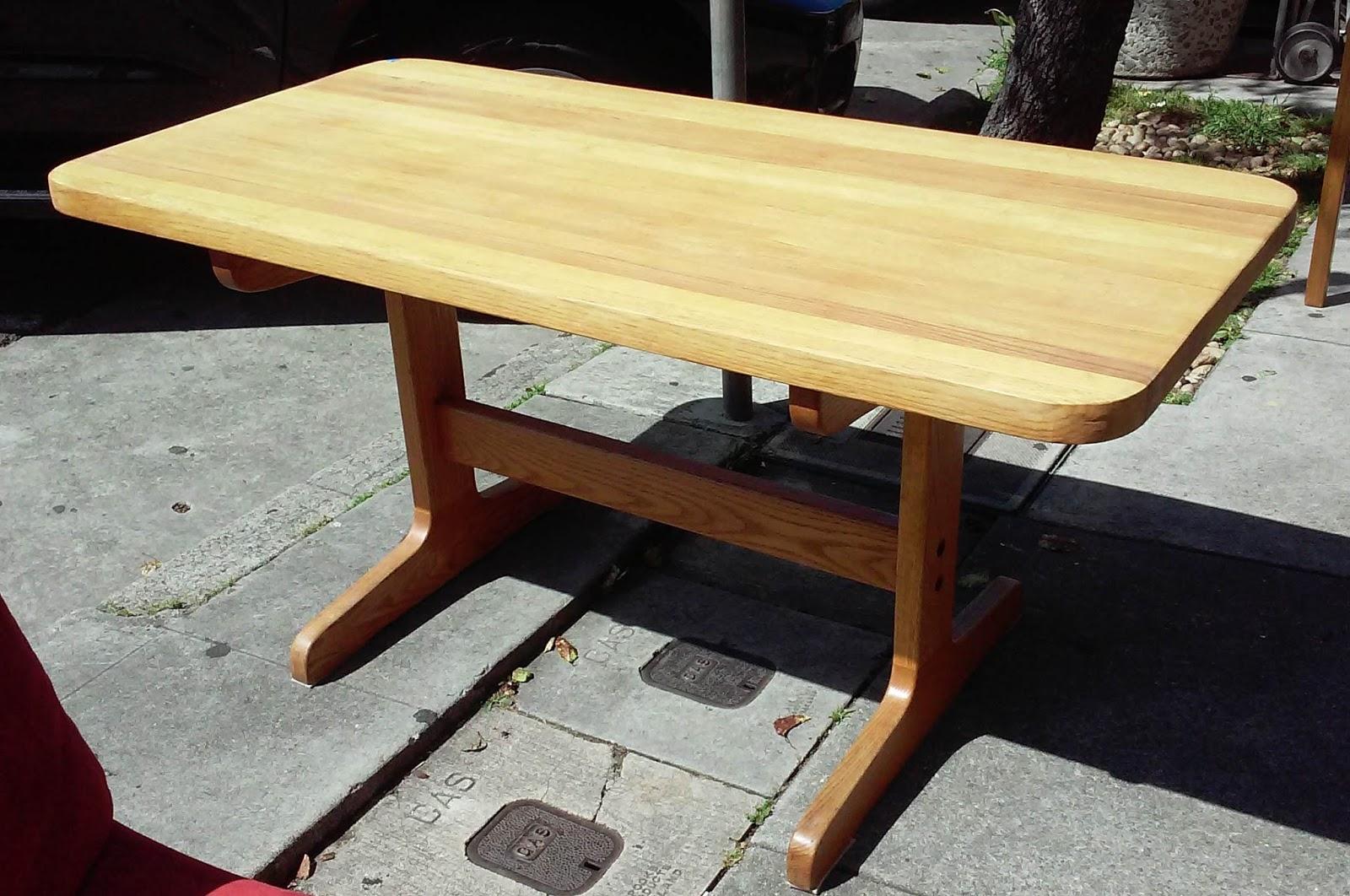 uhuru furniture collectibles sold oak trestle butcher block dining table 70. Black Bedroom Furniture Sets. Home Design Ideas