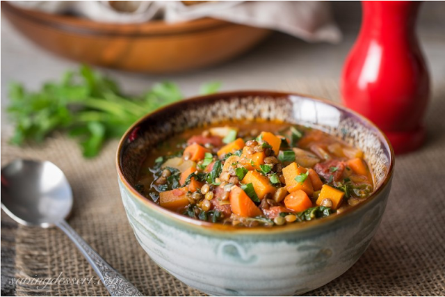 Vegetable Soup with Lentils and Seasonal Greens by Saving Room for Dessert